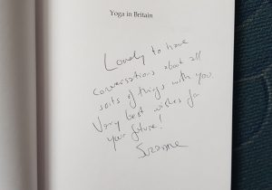 Inside cover of Yoga in Britain with dedication by Suzanne
