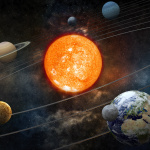 Sun and nine planets orbiting